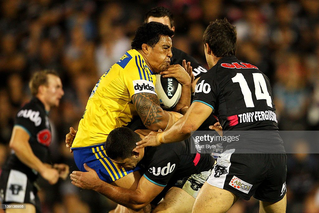 Fuifui Moimoi of the Eels is tackled during the NRL trial match between the Penrith Panthers and the Parramatta Eels at Centrebet Stadium on February 17, 2012 in Sydney, Australia.