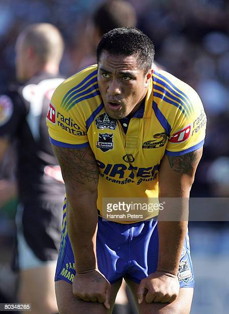 Fuifui Moimoi of the Eels shows his disappointment during the round two NRL match between the Warriors and the Parramatta Eels at Mt Smart Stadium on...