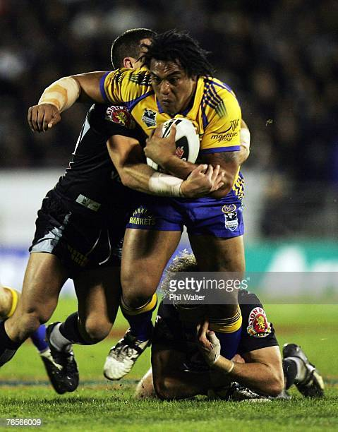 Fuifui Moimoi of the Parramatta Eels is stopped by the Warriors defence during the NRL qualifying final match between the Warriors and the Parramatta...