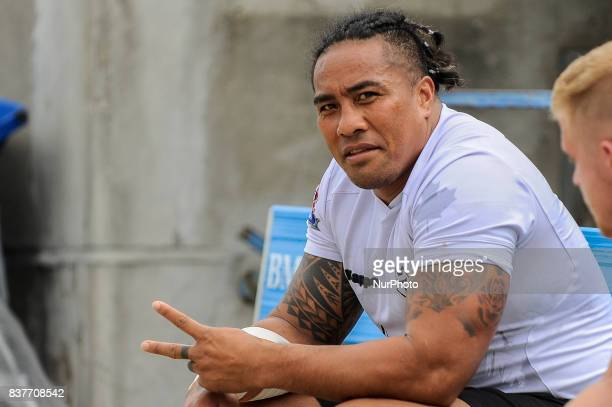 Fuifui Moimoi of Toronto Wolfpack reacts during Super 8s Round 4 game between Toronto Wolfpack vs Newcastle Thunder at Allan A Lamport Stadium in...