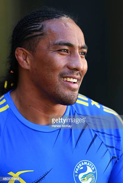 Fuifui Moimoi talks to the media during a Parramatta Eels NRL recovery session at Pirtek Stadium on March 25 2014 in Sydney Australia