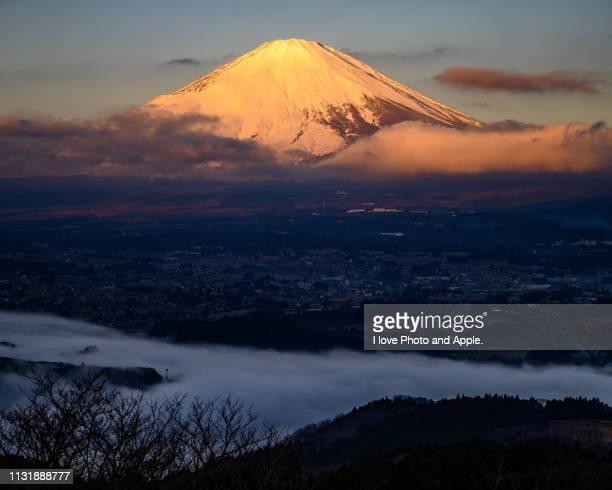 fuji and lake ashinoko - 湖 photos et images de collection