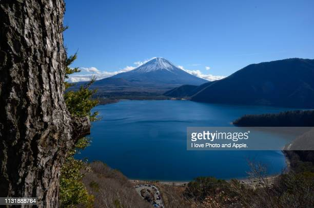 fuji and lake motosu - 湖 stock pictures, royalty-free photos & images