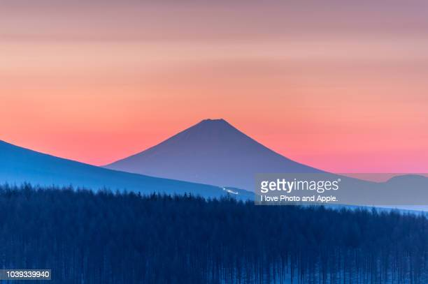 fuji distant view from the kirigamine plateau - fuji hakone izu national park stock photos and pictures
