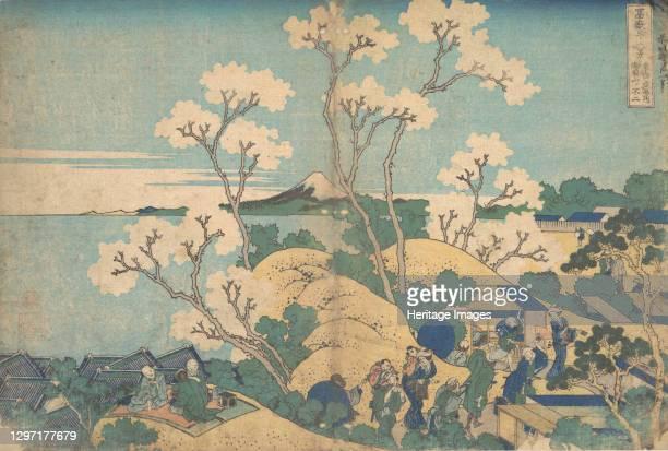 Fuji from Gotenyama at Shinagawa on the Tokaido , from the series Thirty-six Views of Mount Fuji , circa 1830-32. Artist Hokusai.