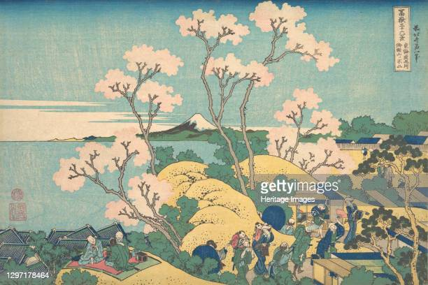 Fuji from Gotenyama on the Tokaido at Shinagawa , from the series Thirty-six Views of Mount Fuji , circa 1830-32. Artist Hokusai.