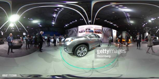 A Fuji Heavy Industries Ltd Subaru Ascent sport utility vehicle concept sits on display during the 2017 New York International Auto Show in New York...