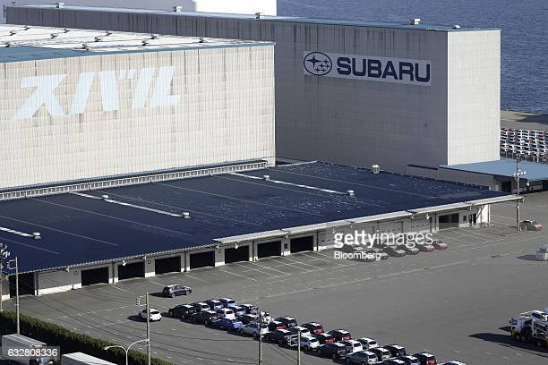 Fuji Heavy Industries Ltd Subaru branded vehicles bound for shipment sit parked in a lot at a port in Kawasaki Kanagawa Japan on Thursday Jan 26 2017...
