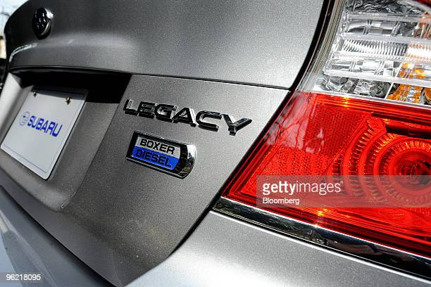 Fuji Heavy Industries Ltd's Subaru Legacy vehicle is displayed during a media event at the company's research and development facility in Tokyo Japan...