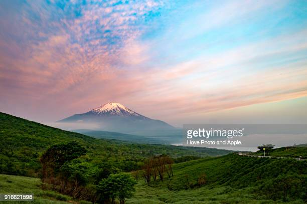 fuji in the pink morning glow - 五月 ストックフォトと画像