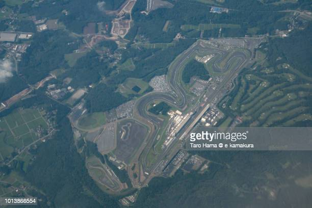 Fuji International Speedway in Shizuoka prefecture in Japan daytime aerial view from airplane