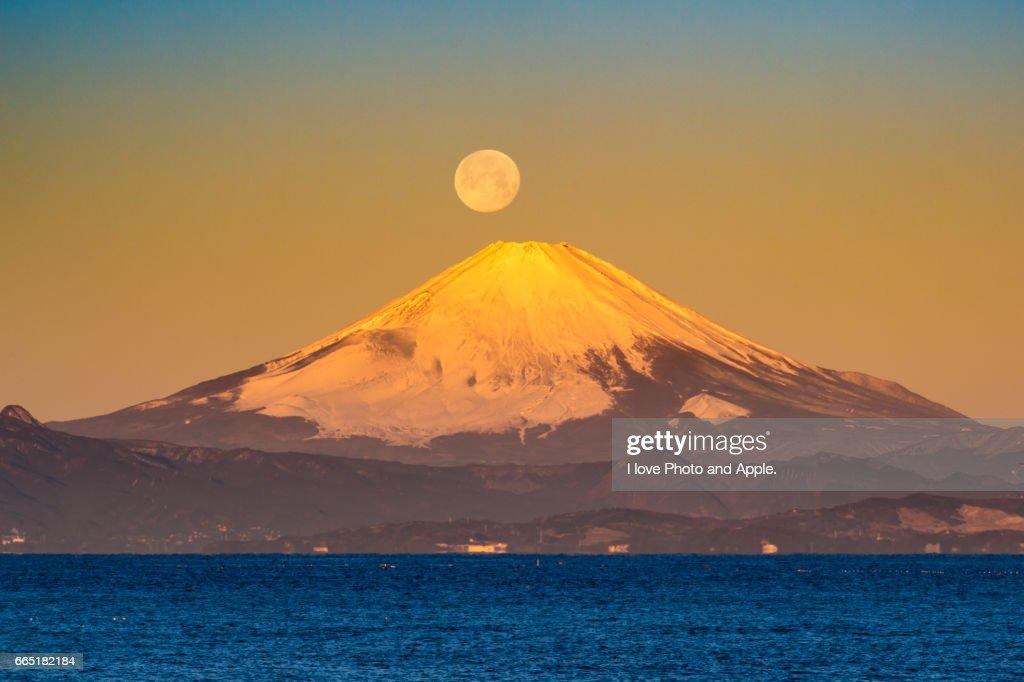 Fuji morning view from Akiya coast : Stock-Foto