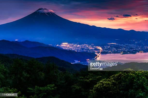 Fuji Mountain and Fujikawaguchiko Town in Summer at Sunset, Lake Kawaguchiko, Japan