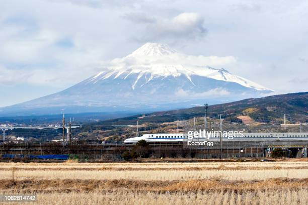 Fuji Mountain and High Speed Bullet Train Shinkansen