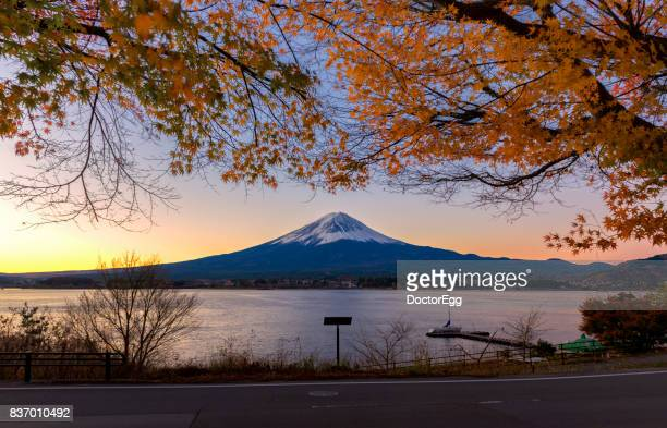Fuji Mountain and Maple Tree in the morning sunrise at Kawaguchiko Lake