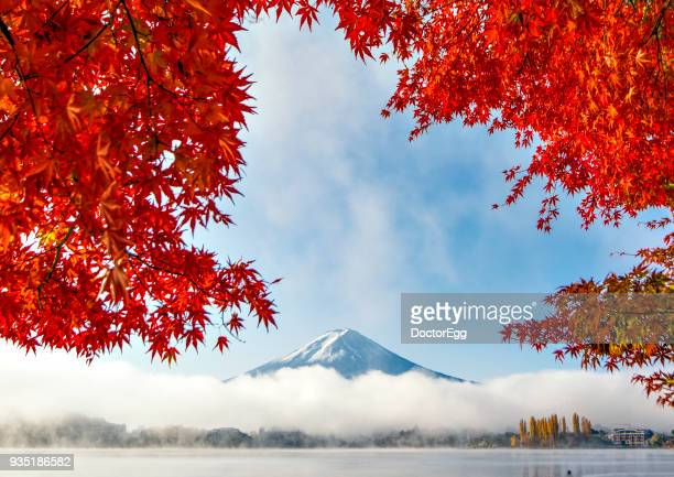 Fuji Mountain and Red Maple Leaves with Morning Mist at Kawaguchiko Lake in Autumn