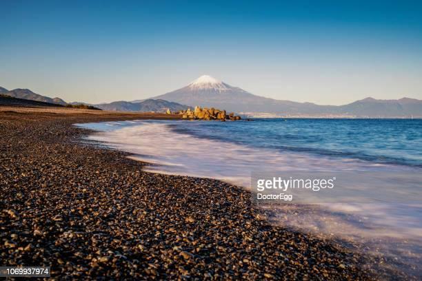 fuji mountain and seascape at miho no matsubara beach, shimizu, japan - 静岡市 ストックフォトと画像