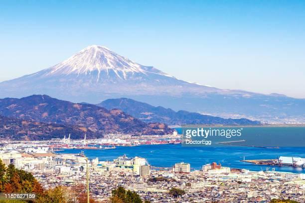 fuji mountain and shimizu port , shizuoka, japan - 静岡県 ストックフォトと画像