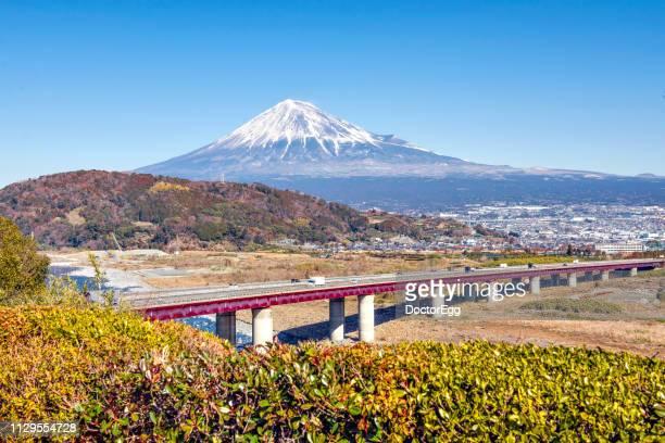 Fuji Mountain and Tomei Express Way at Fujikawa Service Area, Shizuoka, Japan