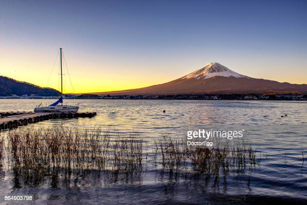 Fuji Mountain and Yacht pier at Kawaguchiko Lake in Sunrise