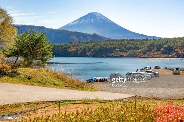Fuji Mountain in Autumn at Saiko Lake,Japan