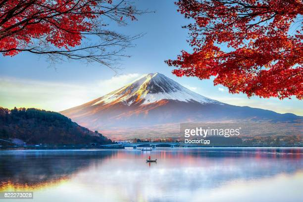 fuji mountain in autumn - japan stockfoto's en -beelden
