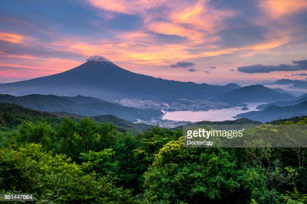 Fuji Mountain in Green Season with Fujikawaguchiko Town at Sunset Twilight Time