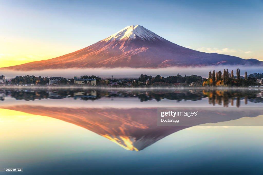 Fuji Mountain Reflection with Morning Mist in Autumn, Kawaguchiko Lake, Japan : Stock Photo