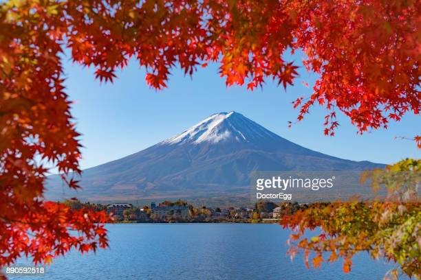 Fuji Mountain with Red Maple Leave Frame in Autumn at Kawaguchiko Lake