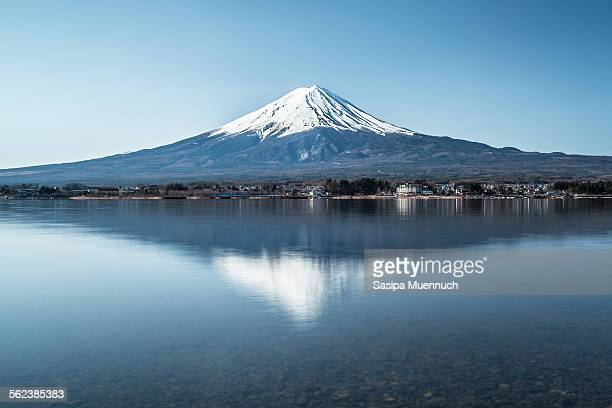 fuji reflection - mount fuji stock photos and pictures