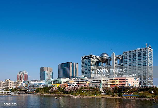 fuji television building - fuji television stock photos and pictures