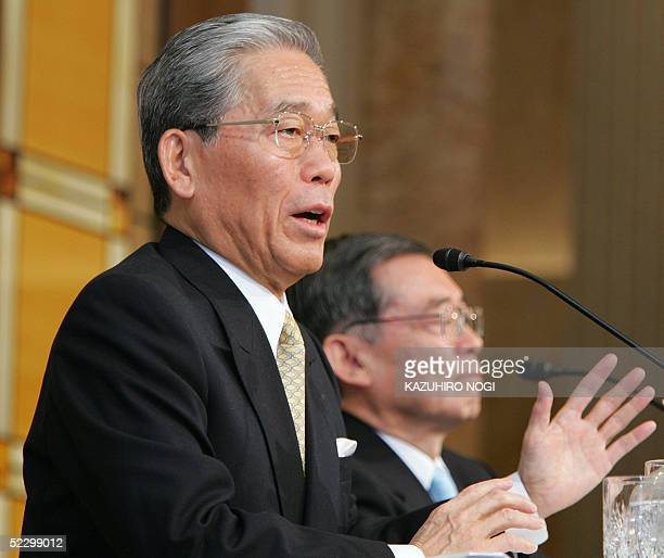 Fuji Television Network Inc Chairman Hisashi Hieda speaks during a news conference at a Tokyo hotel 08 March 2005 Fuji Television said it had secured...