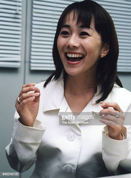 Fuji Television presenter Ayako Kisa speaks during the Asahi Shimbun interview at Fuji TV headquarters on March 9 1999 in Tokyo Japan