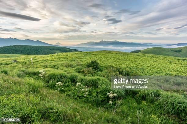 fuji view from kirigamine plateau - altopiano foto e immagini stock