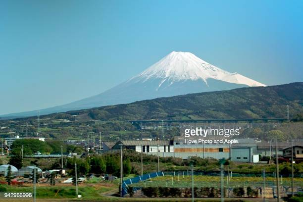 fuji view from shinkansen - shizuoka stock pictures, royalty-free photos & images