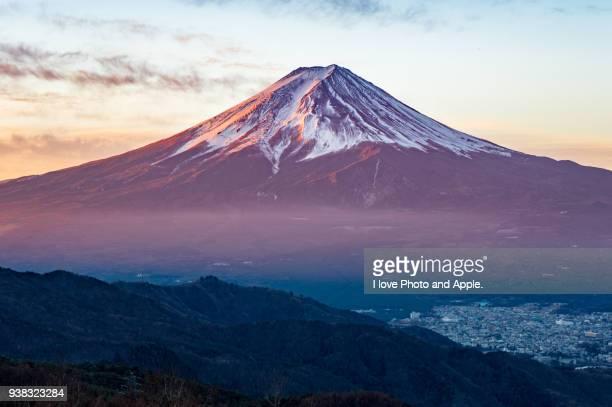 fuji winter morning - fuji hakone izu national park stock photos and pictures