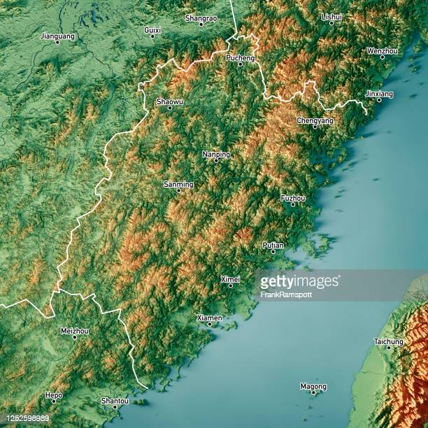 fujian china 3d render topographic map color border cities - frankramspott stock pictures, royalty-free photos & images