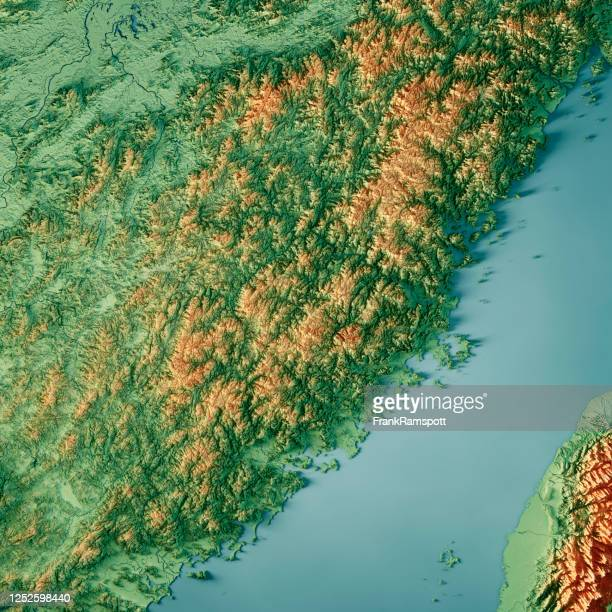 fujian china 3d render topographic map color - frank ramspott stock pictures, royalty-free photos & images
