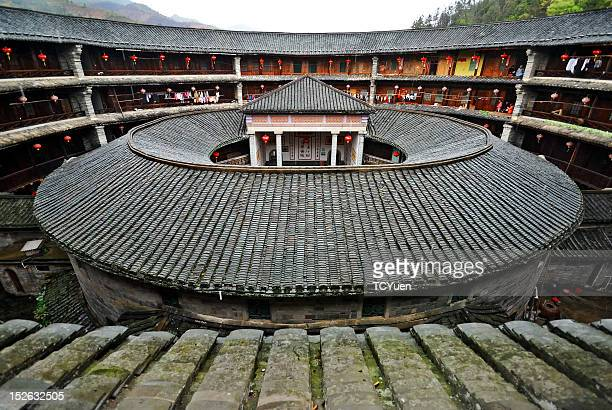 fujian tulou in world heritage site - fujian tulou stock pictures, royalty-free photos & images