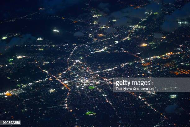 Fujieda city in Shizuoka prefecture in Japan night time aerial view from airplane
