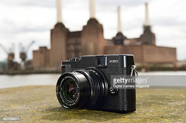 A Fujifilm FinePix X20 compact system camera photographed in front of Battersea Power Station in London for a feature on powerful digital compacts...
