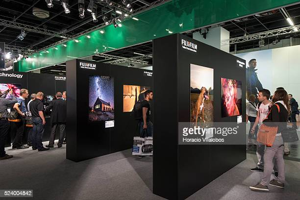 Fujifilm stand in Photokina 2014 in Cologne Germany 18 September 2014 Photokina the world's leading imaging fair brings together the industry trade...