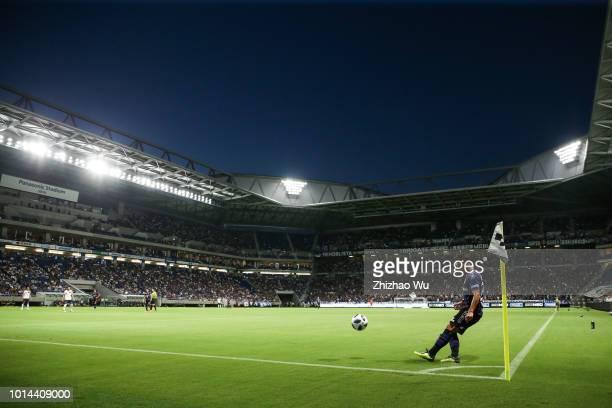 Fujimoto Jungo of Gamba Osaka kicks a corner during the JLeague J1 match between Gamba Osaka and FC Tokyo at Suita City Football Stadium on August 10...