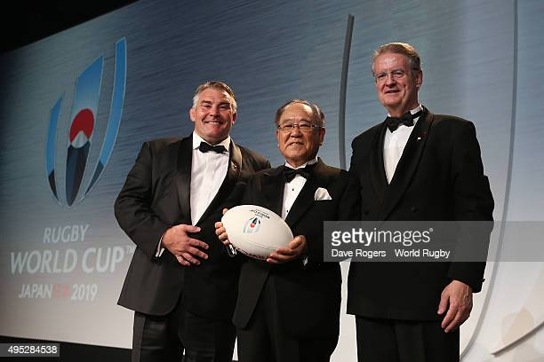 Fujio Mitarai President of the RWC 2019 organizing committee receives the official handover from the President of the RFU during the World Rugby...
