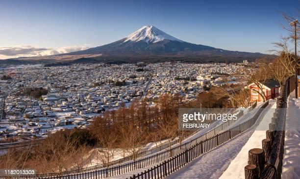 fujisan in winter - 山梨県 ストックフォトと画像