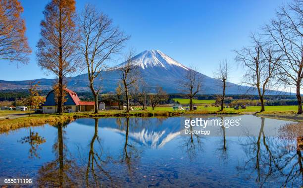 Fuji-san Reflection and small pond at Fumotoppara Campground in Clear Sky Day