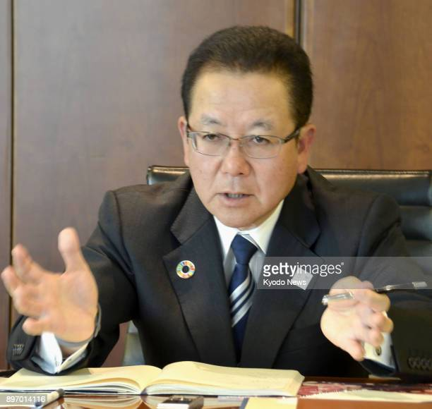 Fujitsu Ltd President Tatsuya Tanaka is interviewed by the press in Tokyo on Dec 22 2017 The Japanese computer maker and Microsoft Corp of the United...