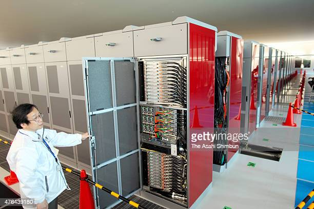 Fujitsu's supercomputer 'K' stand at Riken Kobe Institute on June 21 2011 in Kobe Hyogo Japan