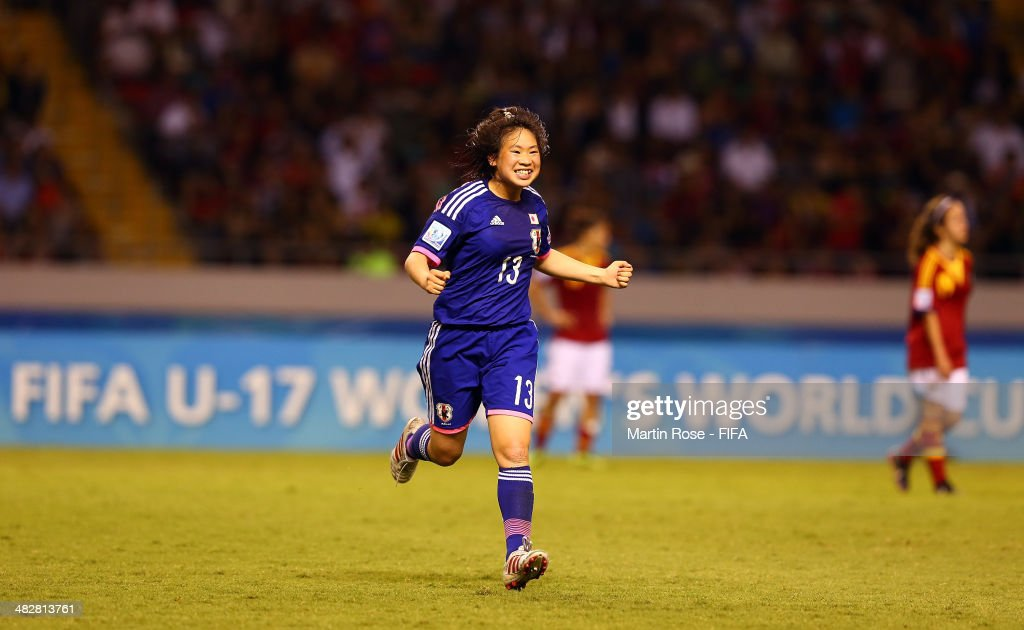 Fuka Kono #13 of Japan celebrates after the FIFA U-17 Women's World Cup 2014 final match between Japan and Spain at Estadio Nacional on April 4, 2014 in San Jose, Costa Rica.