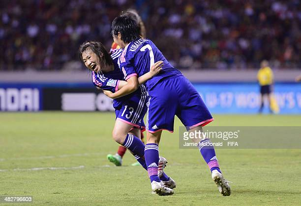 Fuka Kono of Japan celebrates her goal during the FIFA U17 Women's World Cup Final between Japan and Spain at Estadio Nacional on April 4 2014 in San...
